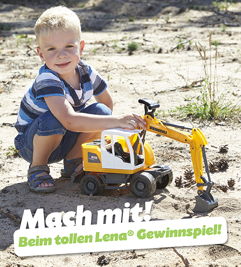 LENA Gewinnspiel Junge mit Worxx Bagger Modell Liebherr