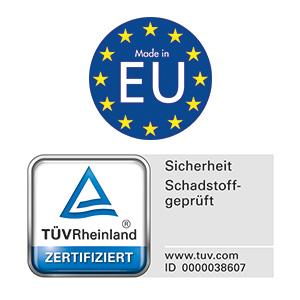 Logo Made in EU und Tuev zertifiziert-schadstoffgeprüft